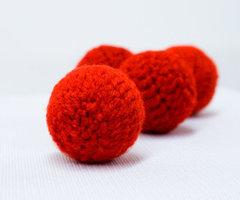 Chop balletjes handknit 19 mm rood (2)