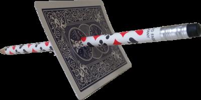 Potlood door kaart met Bicycle spel
